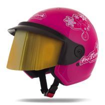 Capacete Moto Feminino Pro Tork Liberty 3 For Girls Viseira Dourada -