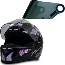 Capacete Moto Gt Femme Preto Rosa Tam 56 + Viseira Cromada - Fw3
