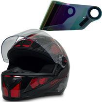 Capacete Moto Gt Femme Preto Vermelho 56 + Viseira Camaleão - Fw3