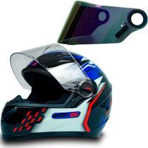 Capacete Moto Gt5 Azul Vermelho Tam 56 + Viseira Camaleão - FW3