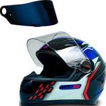Capacete Moto Gt5 Azul Vermelho Tam 58 + Viseira Azul - FW3