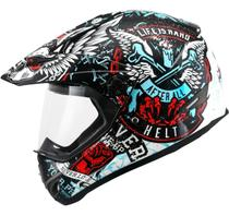 Capacete Moto Helt 630 Cross Vision Angel Fosco Branco/Vermelho -