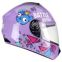 Capacete Moto Infantil Criança Fly Fun Game Lilás Brilhante -