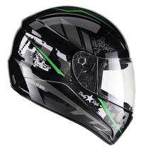 Capacete Moto Integral Fly F-9 City Preto Brilhante Verde -