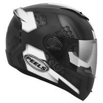 Capacete Moto Integral Peels Icon Dash Preto Fosco Branco Viseira Solar -