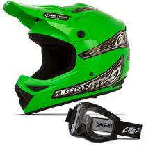 Capacete Moto Motocross Pro Tork Liberty Mx Pro + Óculos 788 Preto -