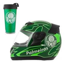Capacete Moto Palmeiras Pro tork Evolution 3G + Copo Térmico -
