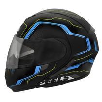 Capacete Moto Peels Articulado Escamoteável Urban Ultron Preto Fosco Azul Com Óculos Solar -