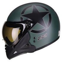 Capacete Moto Peels F-21 Us Army Verde Militar Preto Fosco Com Duas Viseiras -