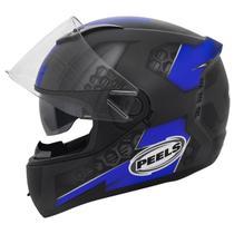 Capacete Moto Peels Icon Dash Preto Chumbo Fosco Azul Com Óculos Solar Interno -