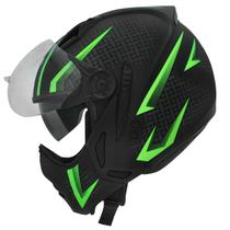 Capacete Moto Peels Mirage Storm Preto Fosco Verde Com Óculos Solar -