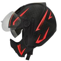 Capacete Moto Peels Mirage Storm Preto Fosco Vermelho Com Óculos Solar -