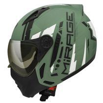 Capacete Moto Peels Mirage Techride Verde Militar Fosco Com Viseira Interna Fumê -