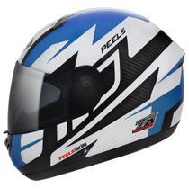 Capacete Moto Peels Spike Veloce Branco Brilhante Azul -