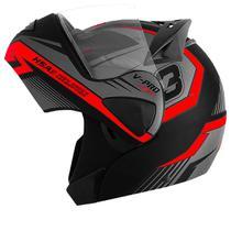Capacete Moto Pro Tork Articulado Escamoteável V-pro Jet 3 Preto Fosco Vermelho -
