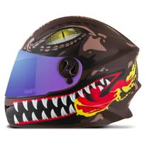 Capacete Moto Pro tork New Liberty For Kids Raptor Infantil Marrom -