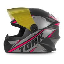 Capacete Moto Pro Tork R8 Narigueira + Viseira Dourada -