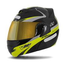 Capacete Moto Robocop Pro Tork V-Pro Jet 2 Carbon Preto Viseira Dourada -