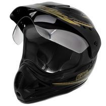 Capacete Motocross EBF Motard Street Preto e Dourado - Ebf capacetes