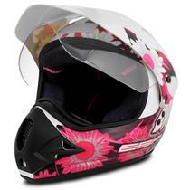 Capacete Motocross EBF Super Motard Fada Branco Preto e Rosa - Ebf capacetes