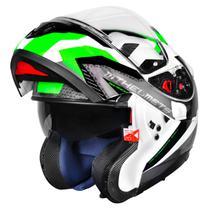 Capacete MT Atom Sv Hybrid Branco Preto Verde Escamoteável -