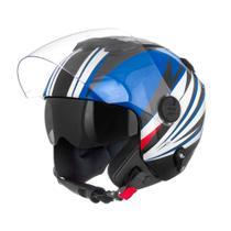 Capacete New Atomic Preto/Azul/Branco Superbike Tamanho 58 CAP-449PTAZBC Pro Tork -