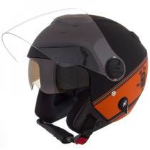 Capacete New Atomic Skull Riders Preto e Laranja Tamanho 60 Pro Tork - CAP-436PTLRF -