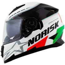 Capacete Norisk FF302 Grand Prix (Viseira Solar) Italy Preto/Branco Brilho -