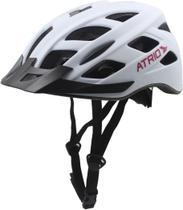 Capacete para Ciclismo Tam. M com LED Viseira Removível e 19 Entradas de Ventilação Branco/Rosa Atrio - BI104 -