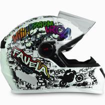 Capacete Para Moto Fw3 Gt Favela Branco Brilhante Fechado 60 -