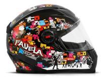Capacete Para Moto Fw3 Gt Favela Preto Brilhante Fechado 58 -