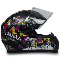 Capacete Para Moto Fw3 Gt Favela Preto Fosco Fechado Tam 56 -