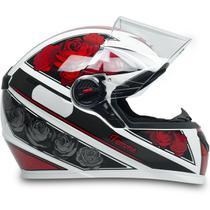 Capacete Para Moto Fw3 Gt Femme Branco Vermelho Tamanho 56 -