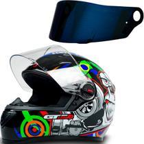Capacete para Moto Fw3 Gt Turbo Preto Tam 56 + Viseira Azul -