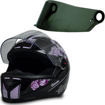 Capacete para Moto Gt Femme Preto Rosa Tam 56 + Viseira Fumê - Fw3