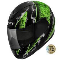 Capacete Para Motociclista Urban Smoke Preto Fosco E Verde Peels -