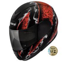 Capacete Para Motociclista Urban Smoke Preto Fosco E Vermelho Peels -