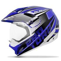 Capacete Pro Tork Cross TH1 Vision Adventure Azul e Branco -