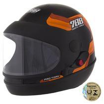 Capacete Sport Fechado Moto 788 Preto E Laranja Pro Tork -