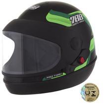 Capacete Sport Fechado Moto 788 Preto E Verde Pro Tork -