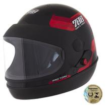 Capacete Sport Fechado Moto 788 Preto E Vermelho Pro Tork -