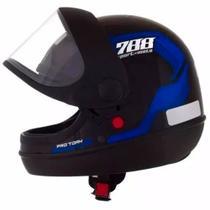 Capacete Sport Moto 788 Preto e Azul Tamanho 58 CAP-495AZ - Pro Tork -