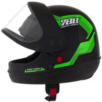 Capacete Sport Moto 788 Preto e Verde Tamanho 58 Pro Tork - CAP-495VD -