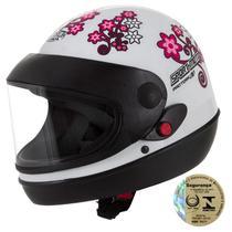29cb72d2d80df Capacete Sport Moto For Girls Branco Pro Tork
