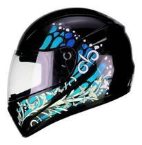 Capacete ver butterfly preto com azul 58 -