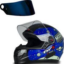 Capacete Viseira Azul Astronauta Com Narigueira Preto 58 - FW3