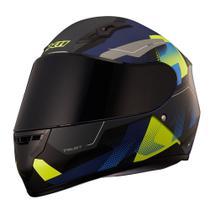 Capacete X11 Trust Pro Transit Azul Neon Com Viseira Espelhada e Viseira Cristal -