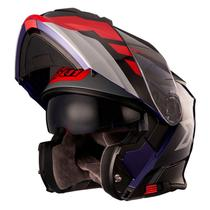 Capacete X11 Turner Prisma Azul e Vermelho Articulado com Viseira Solar -