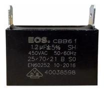 Capacitor 1.2 uf Mfd 450vac +- 5% Cbb61 Para Ventilação Ar Condicionado Marca EOS D10220 -