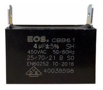 Capacitor 4 uf Mfd 450vac +- 5% Cbb61 Para Ventilação Ar Condicionado Marca EOS D10225 -